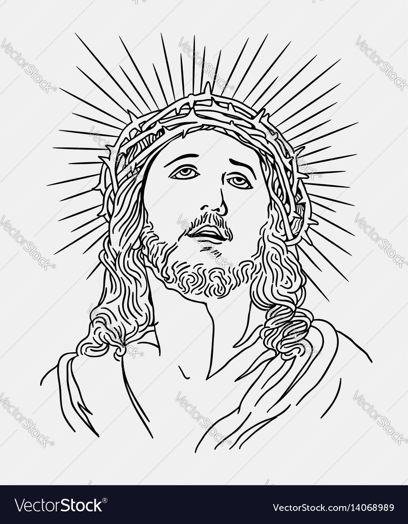 Jesus christianity religion line art drawing style