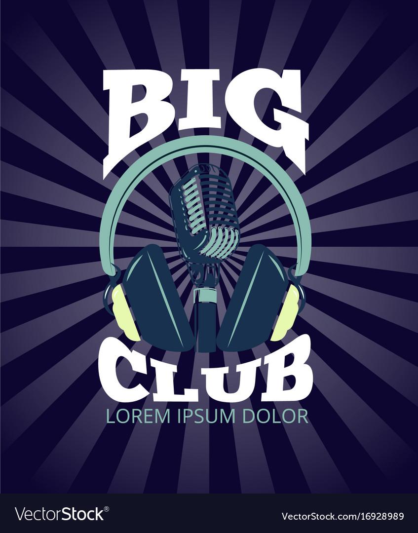 Karaoke club audio record studio logo with