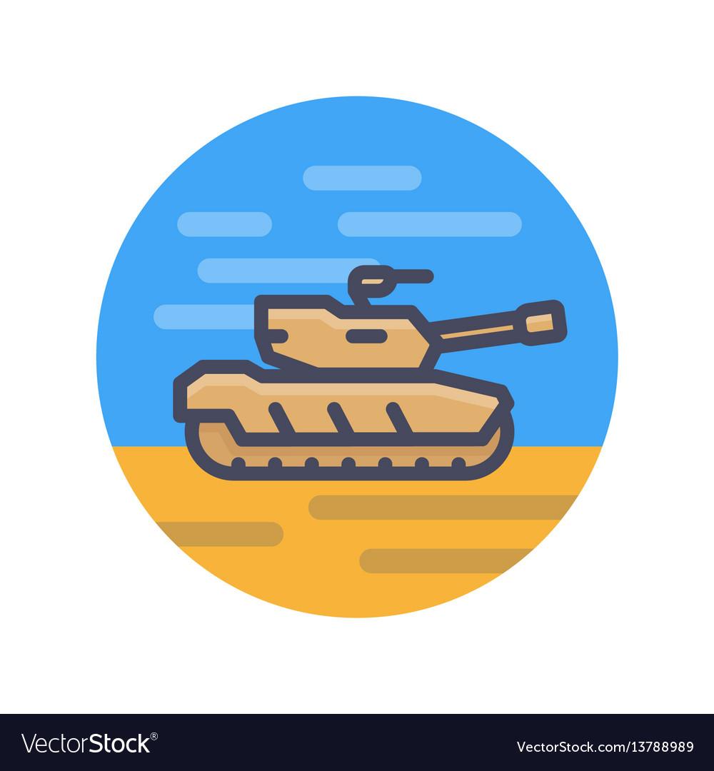 Modern tank icon in flat style