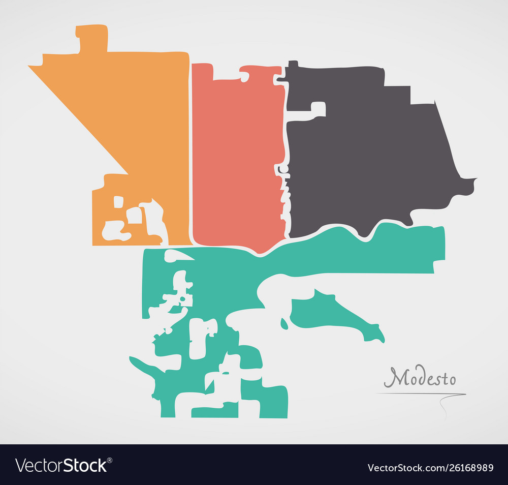 Modesto california map with neighborhoods and