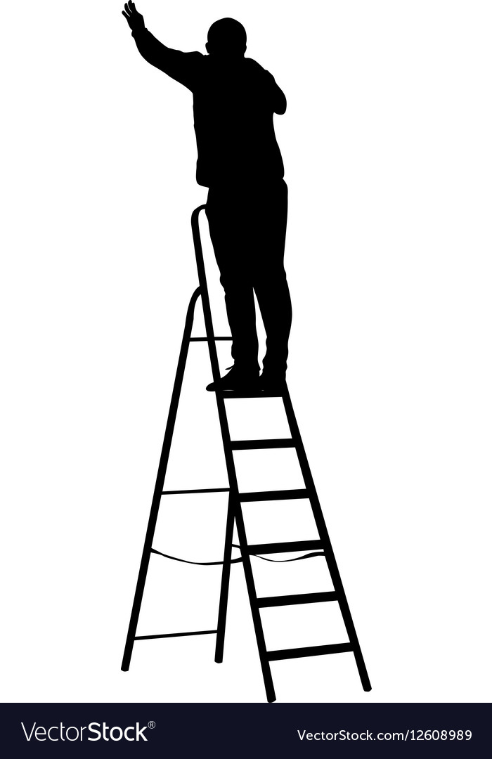 Silhouette worker climbing the ladder vector image