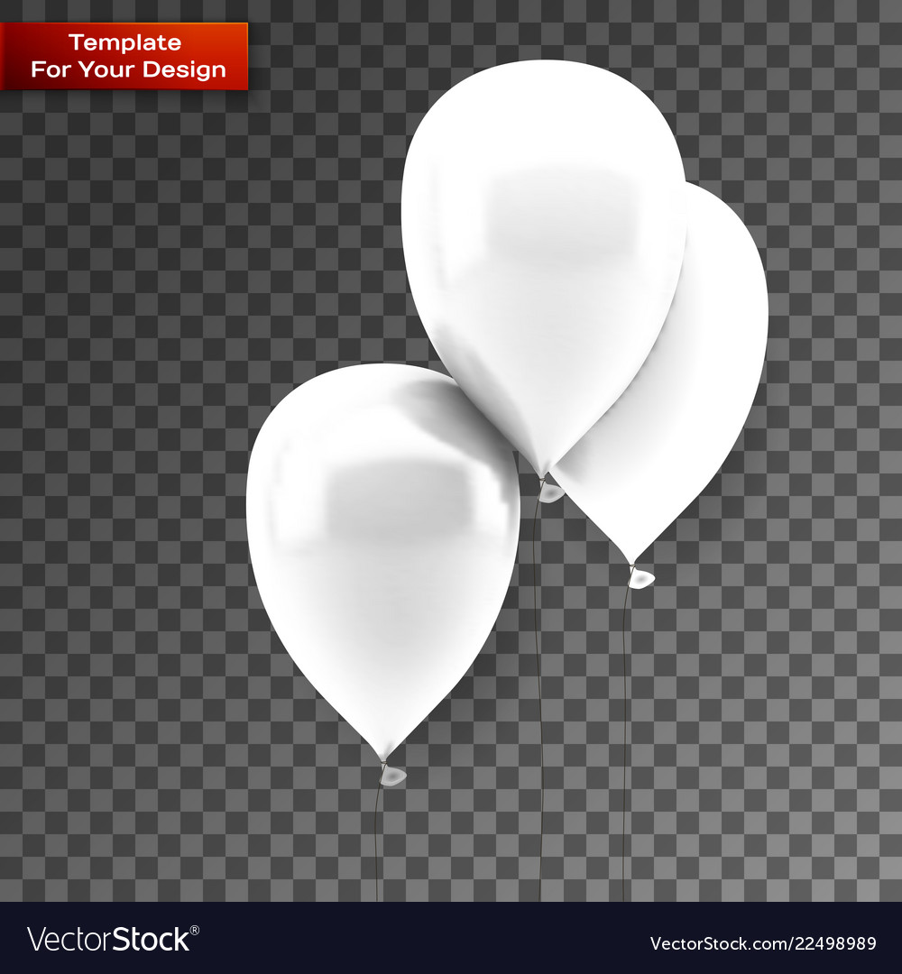 White balloons on isolated on transparent