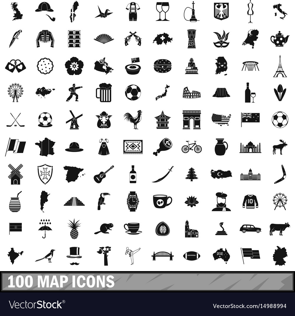 100 map icons set simple style