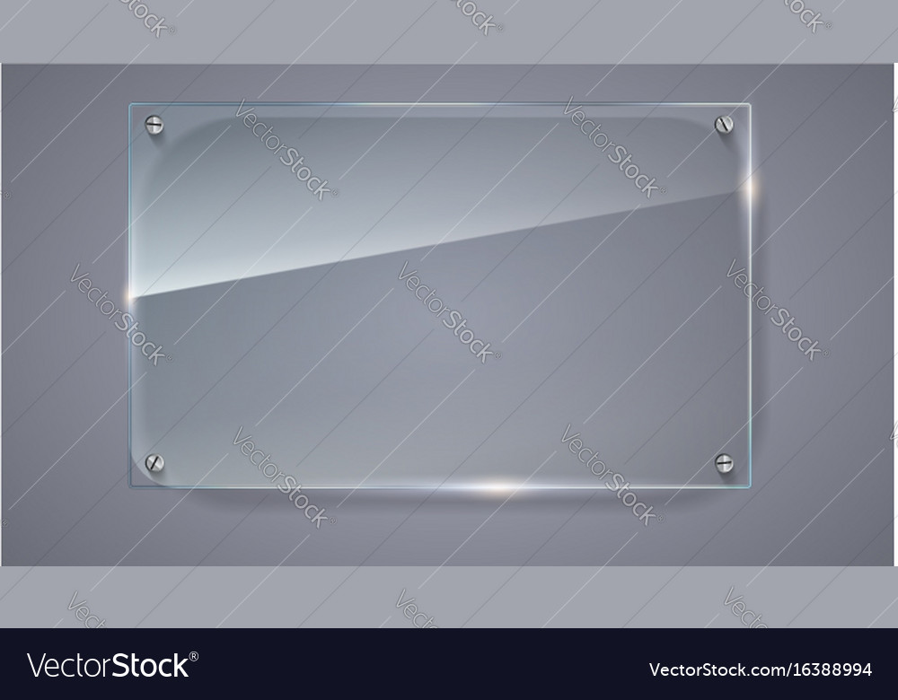 Blank transparent glass plate vector image