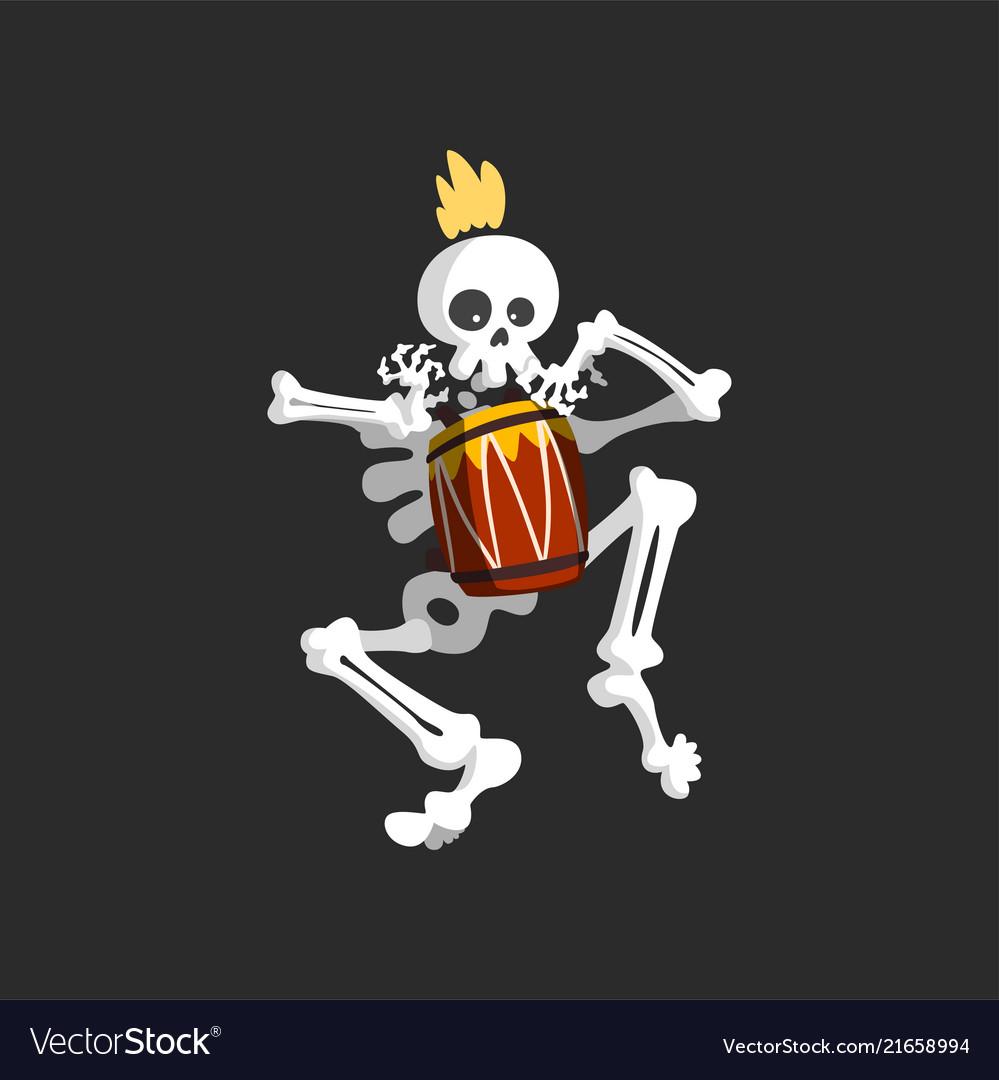Creepy skeleton character playing drum