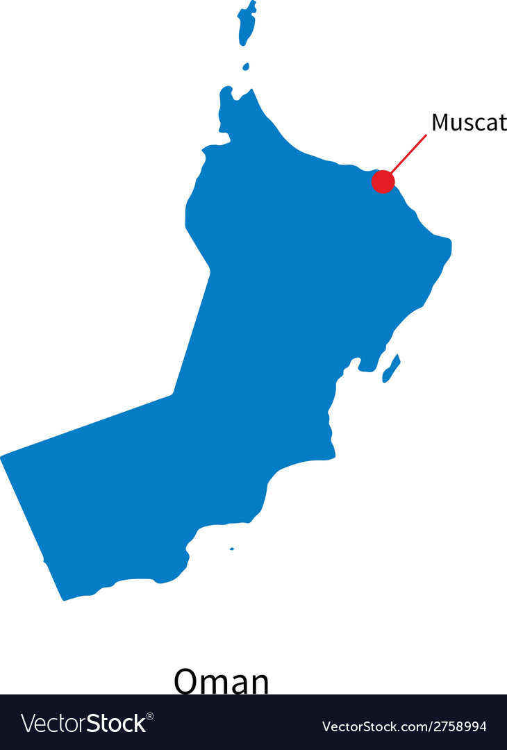 Detailed map of Oman and capital city Muscat vector image