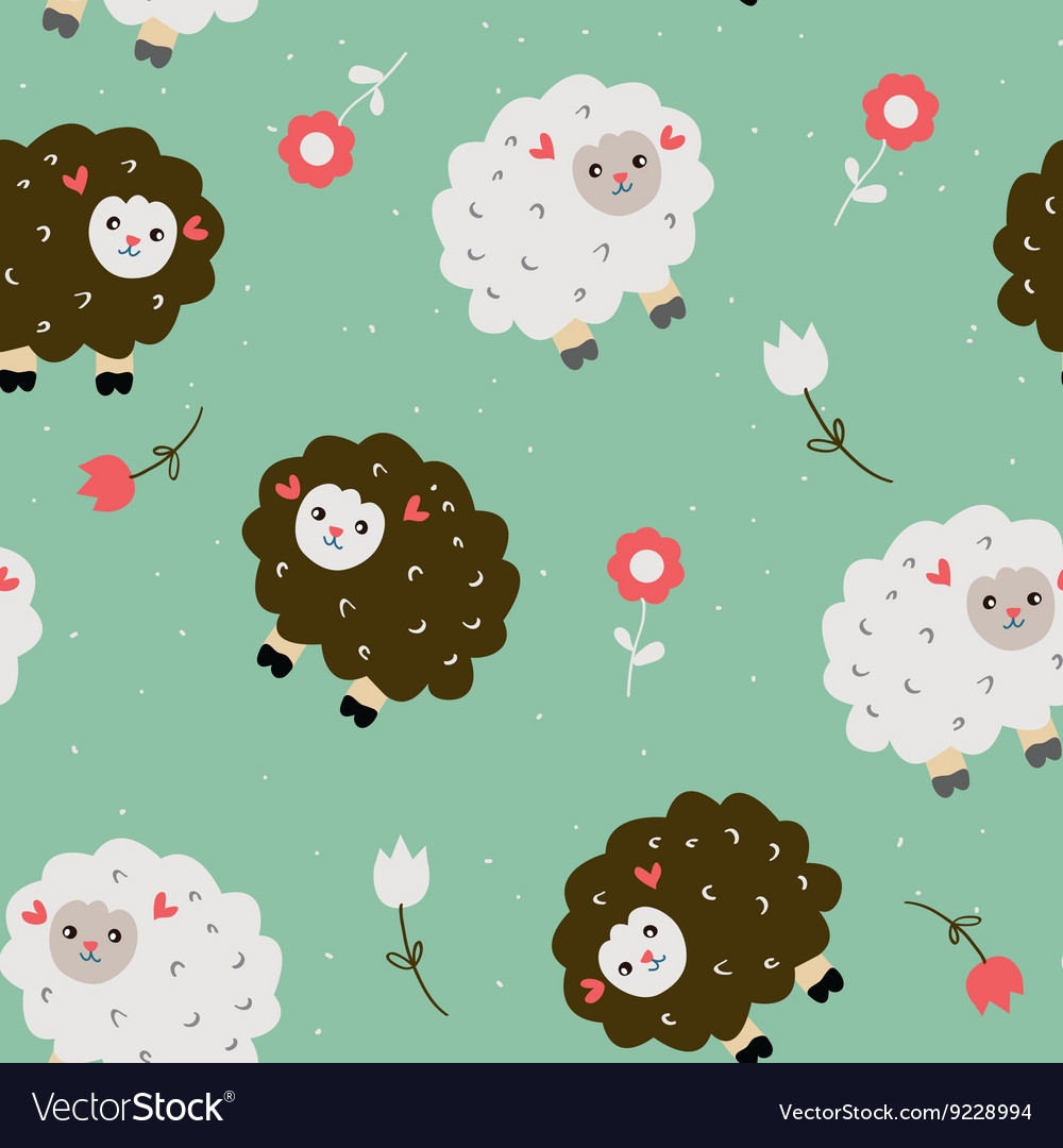 Funny seamless pattern with sheeps and flowers