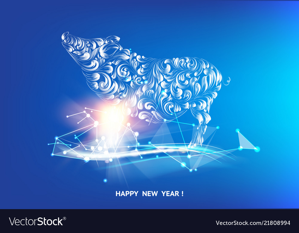Happy new year 2019 card with golden pig and