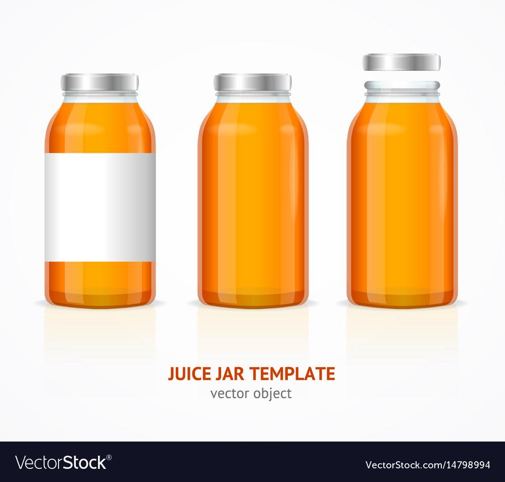 Realistic juice glass jar bottle template set