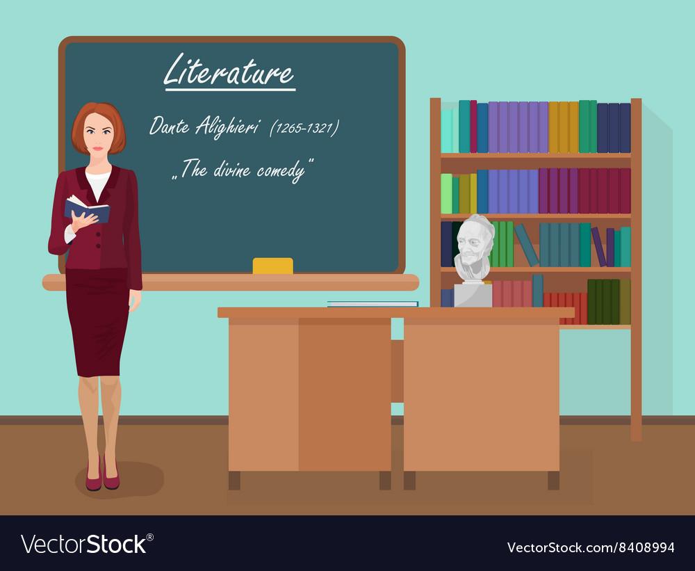 School Literature female teacher in audience class