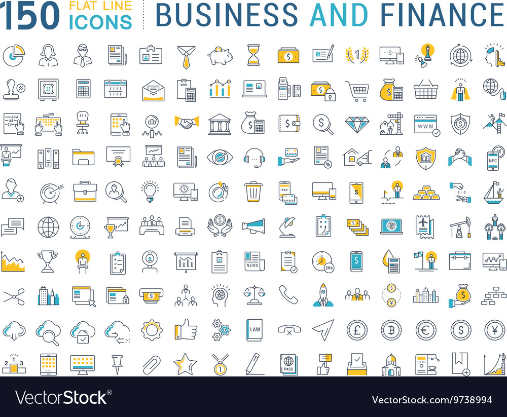 Set Flat Line Icons Business and Finance