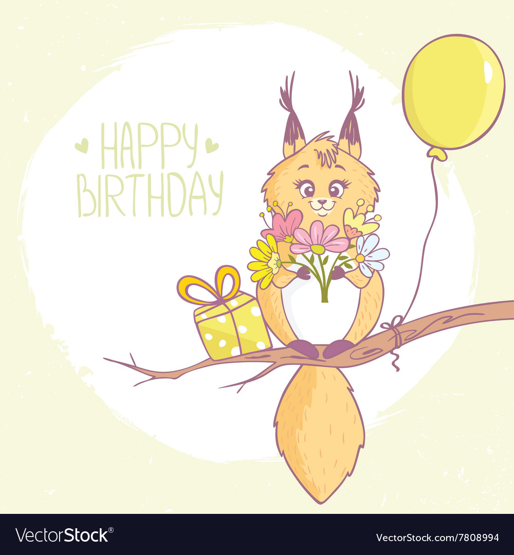Squirrel Happy Birthday vector image