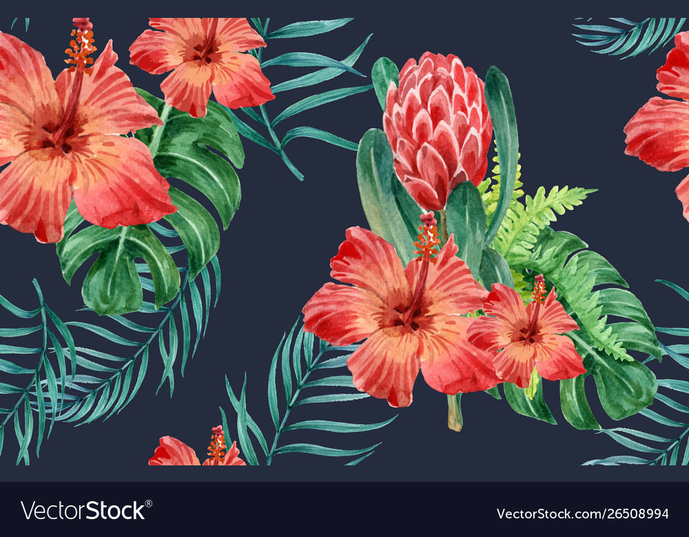 Tropical pattern flower watercolor thanks card