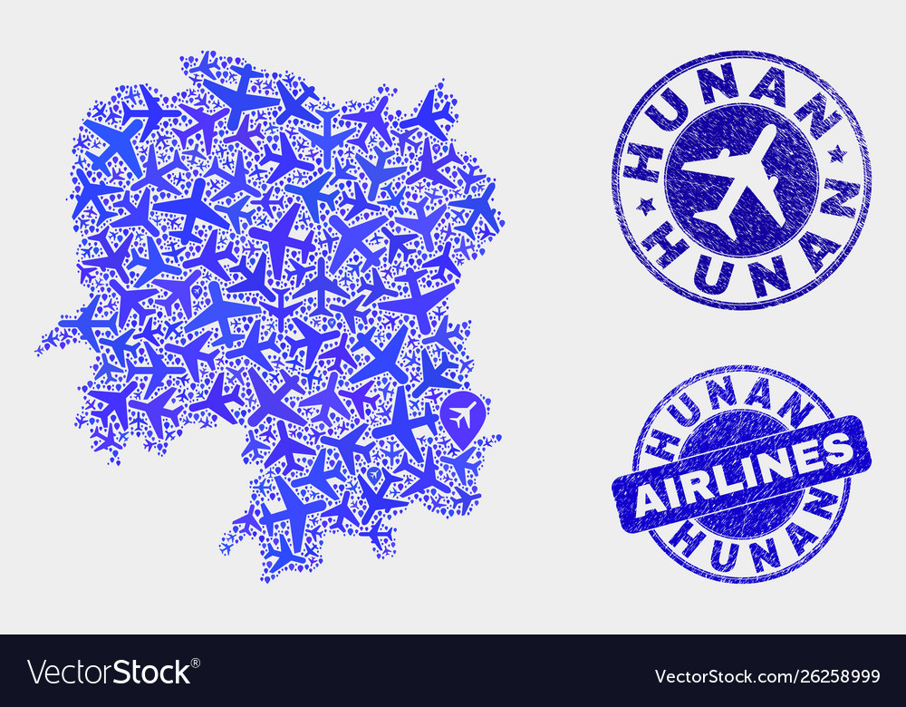 Airlines composition hunan province map and