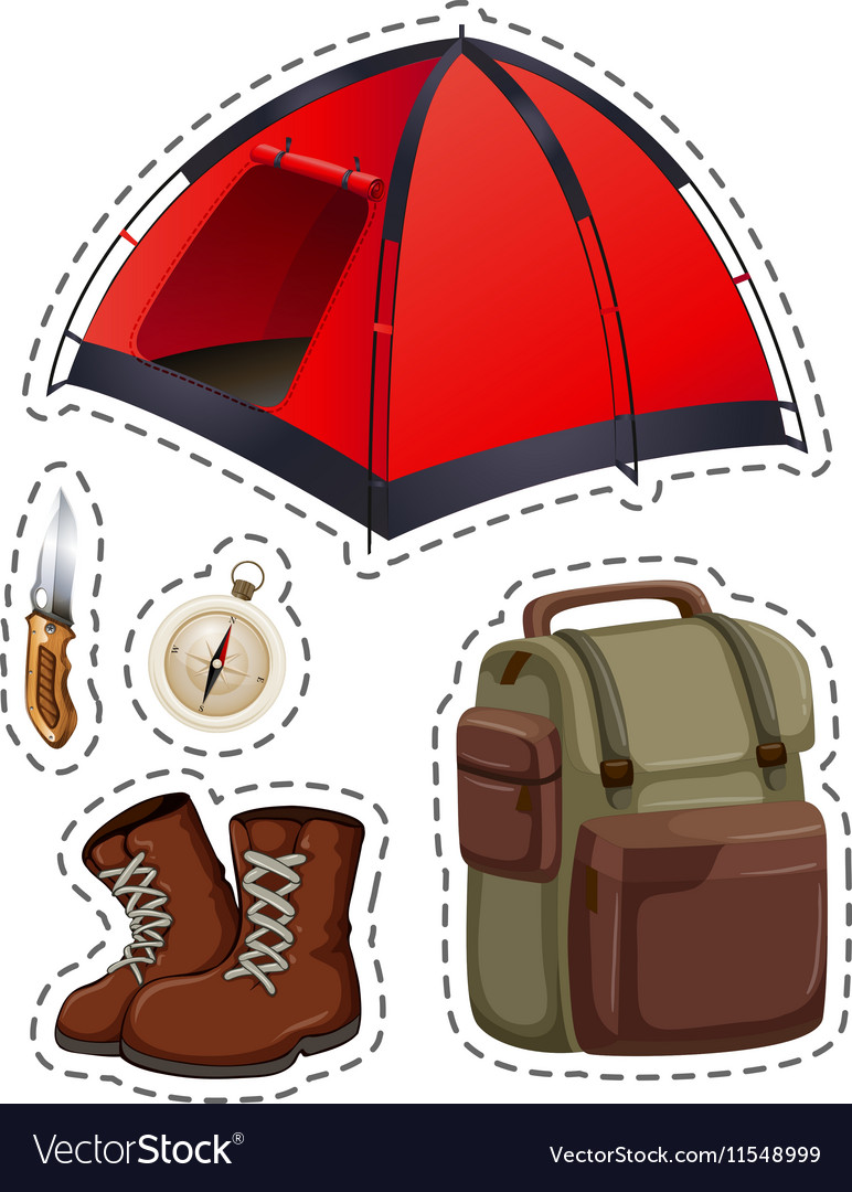 Camping set with tent and other objects vector image