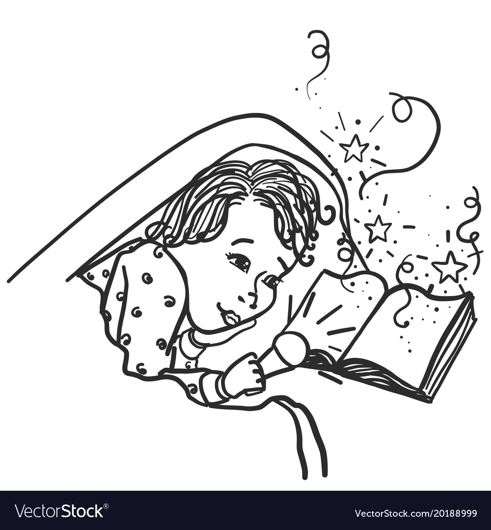 Child under the covers with a flashlight reading a