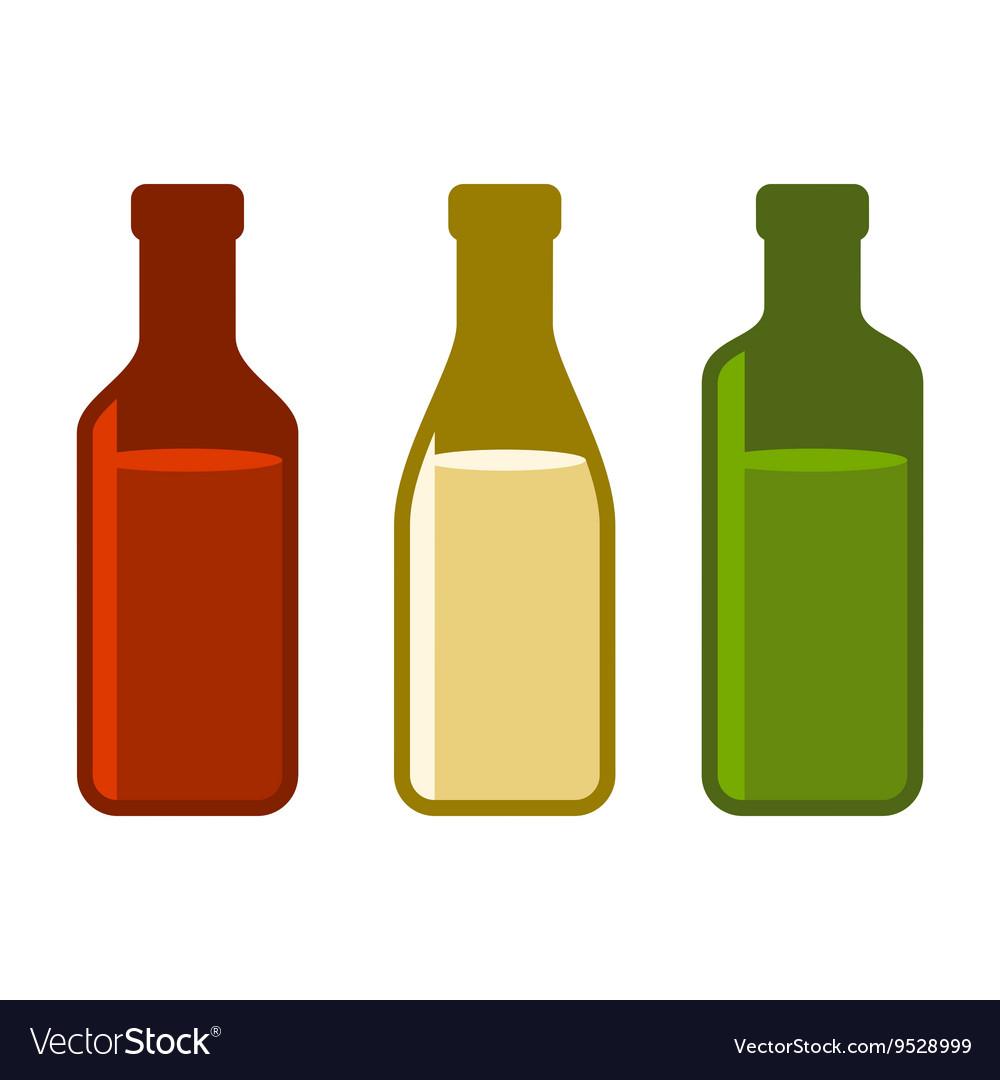 Colors Wine Bottles Set on White Background