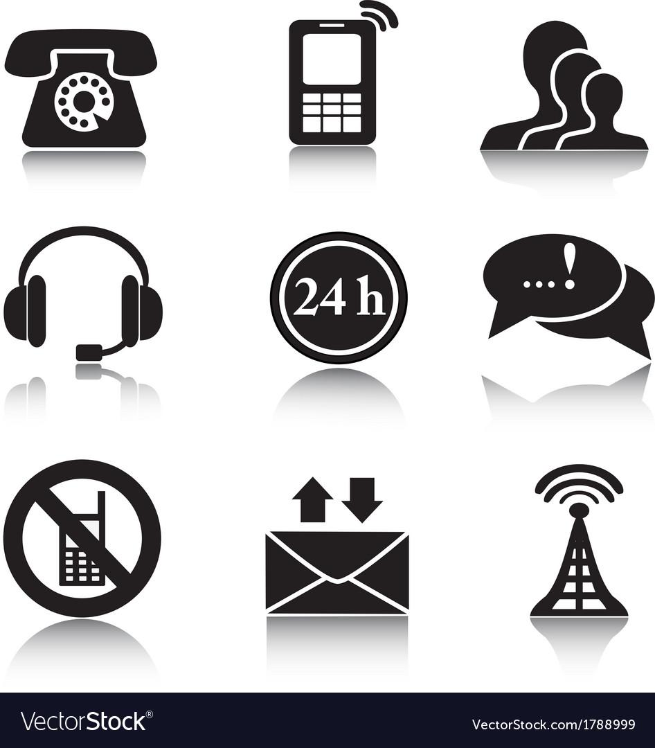 Contact black icons set