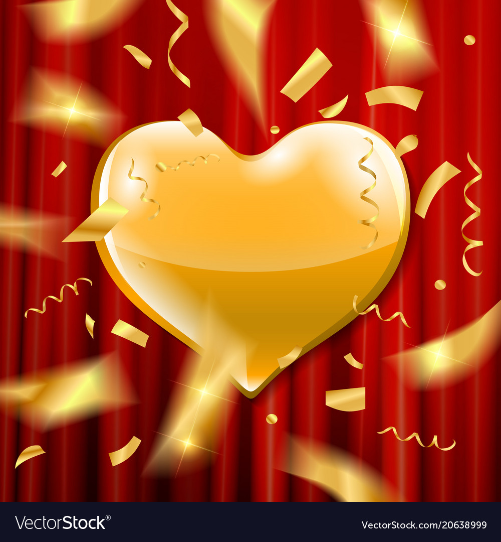 Gold heart on a red background