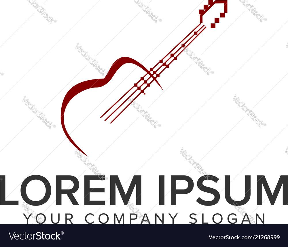 Guitar logo design concept template fully editable