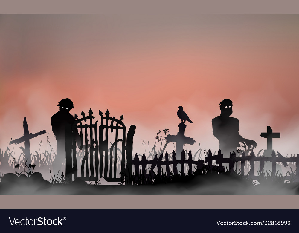 Halloween related landscape with undead people
