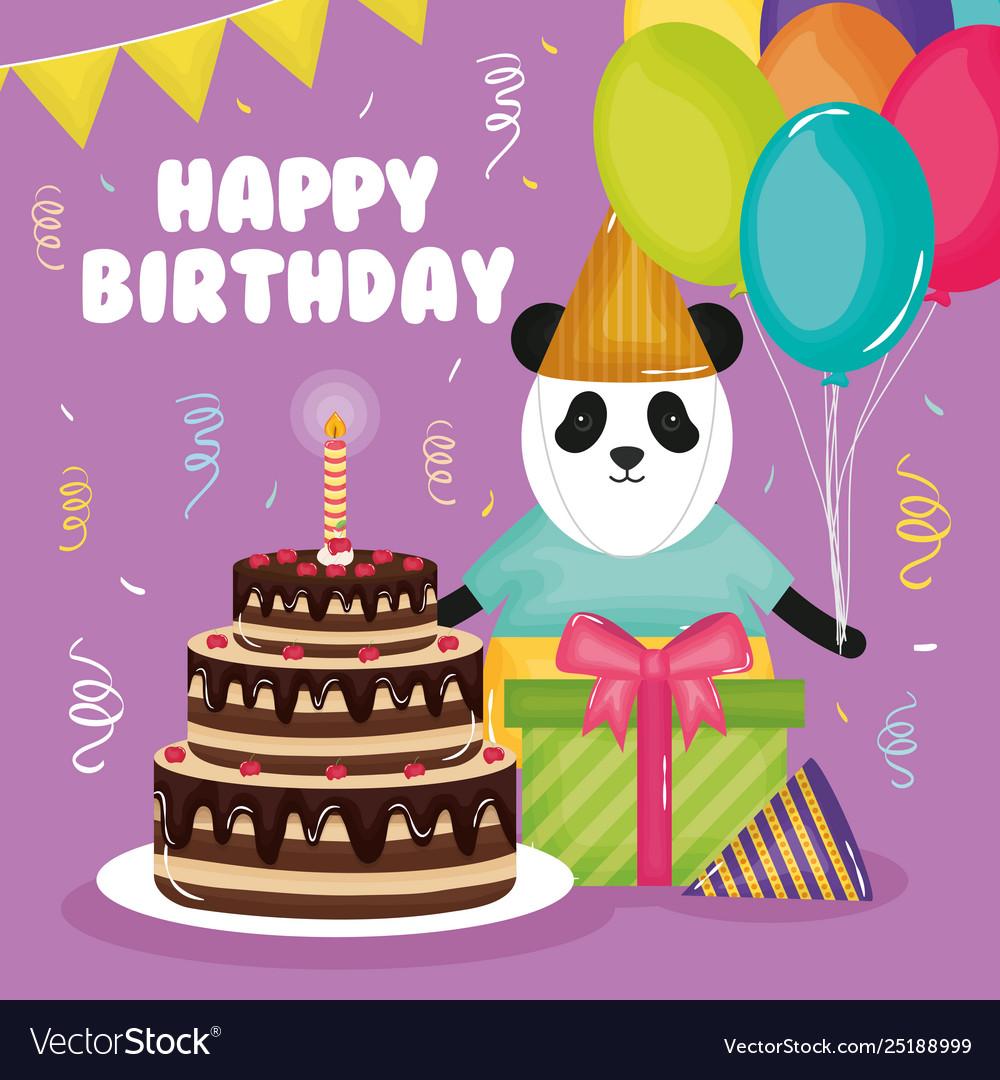 Fine Happy Birthday Card With Panda Bear And Cake Vector Image Funny Birthday Cards Online Inifofree Goldxyz