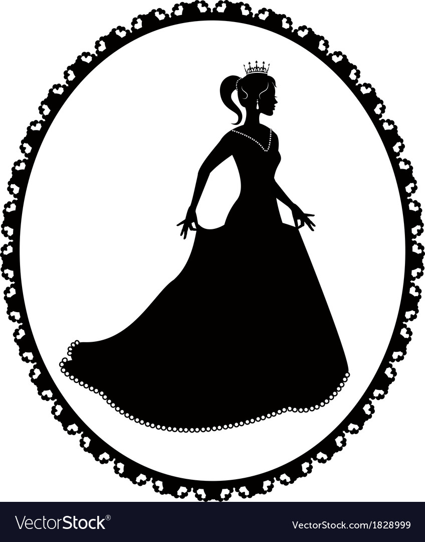princess silhouette in long dress and retro frame vector image