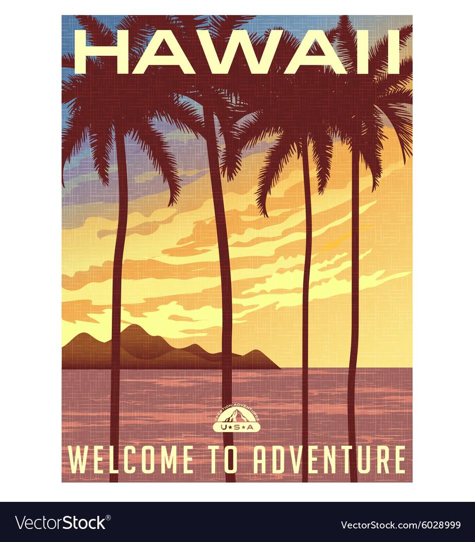 Retro style travel poster hawaii