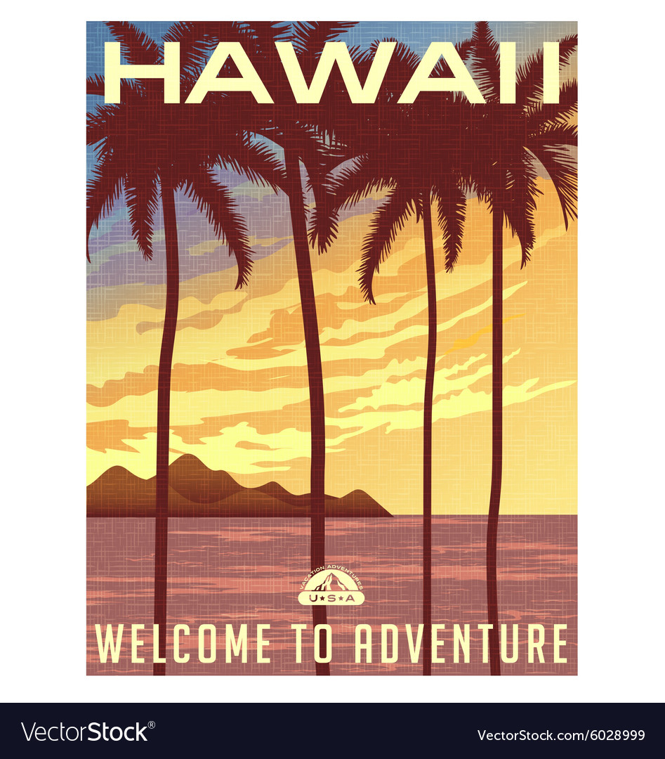 Retro style travel poster of Hawaii