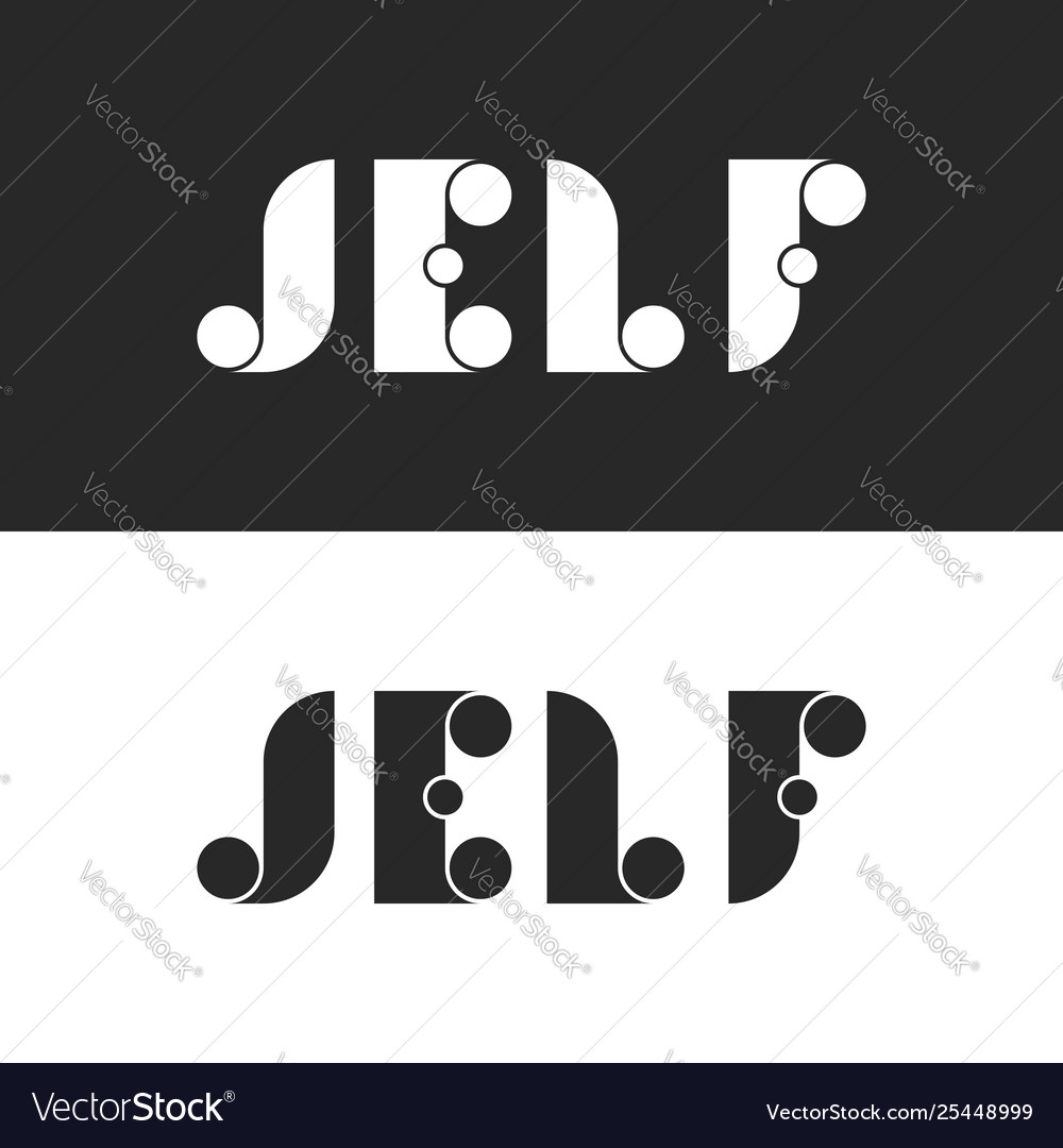 Set bold letters with circle j e l f logo mockup
