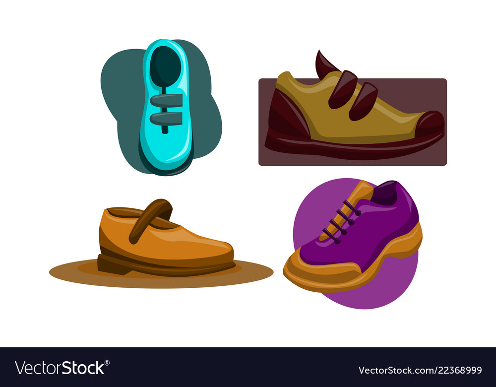 Shoes back to school template set