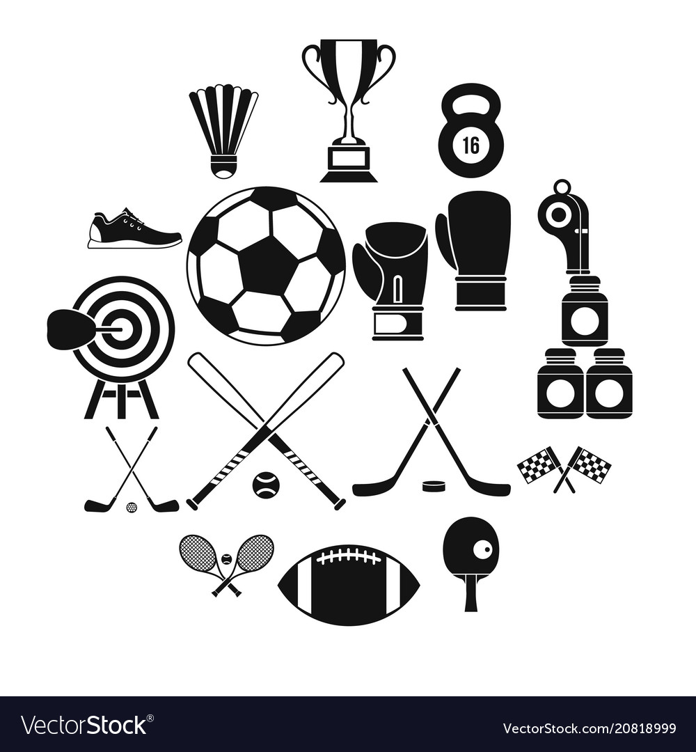 Sport equipment icons set simple style