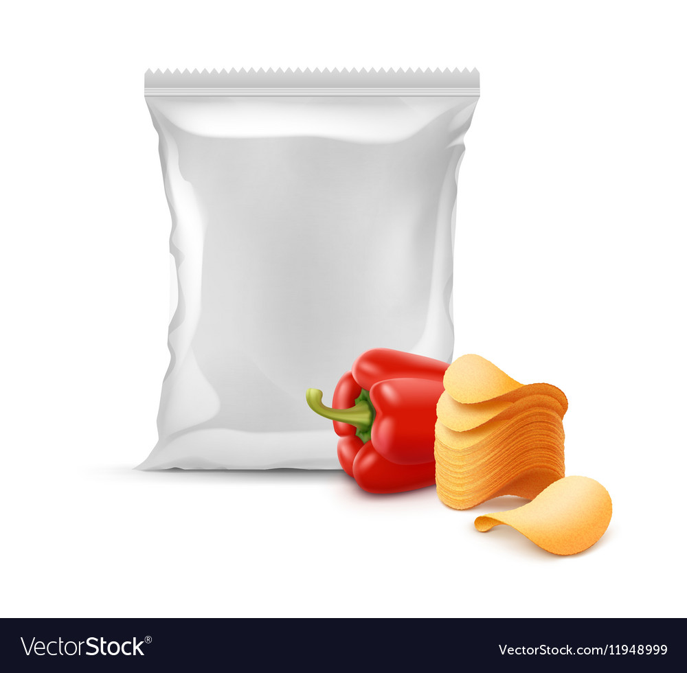 Stack of Potato Chips with Paprika and Sealed Bag