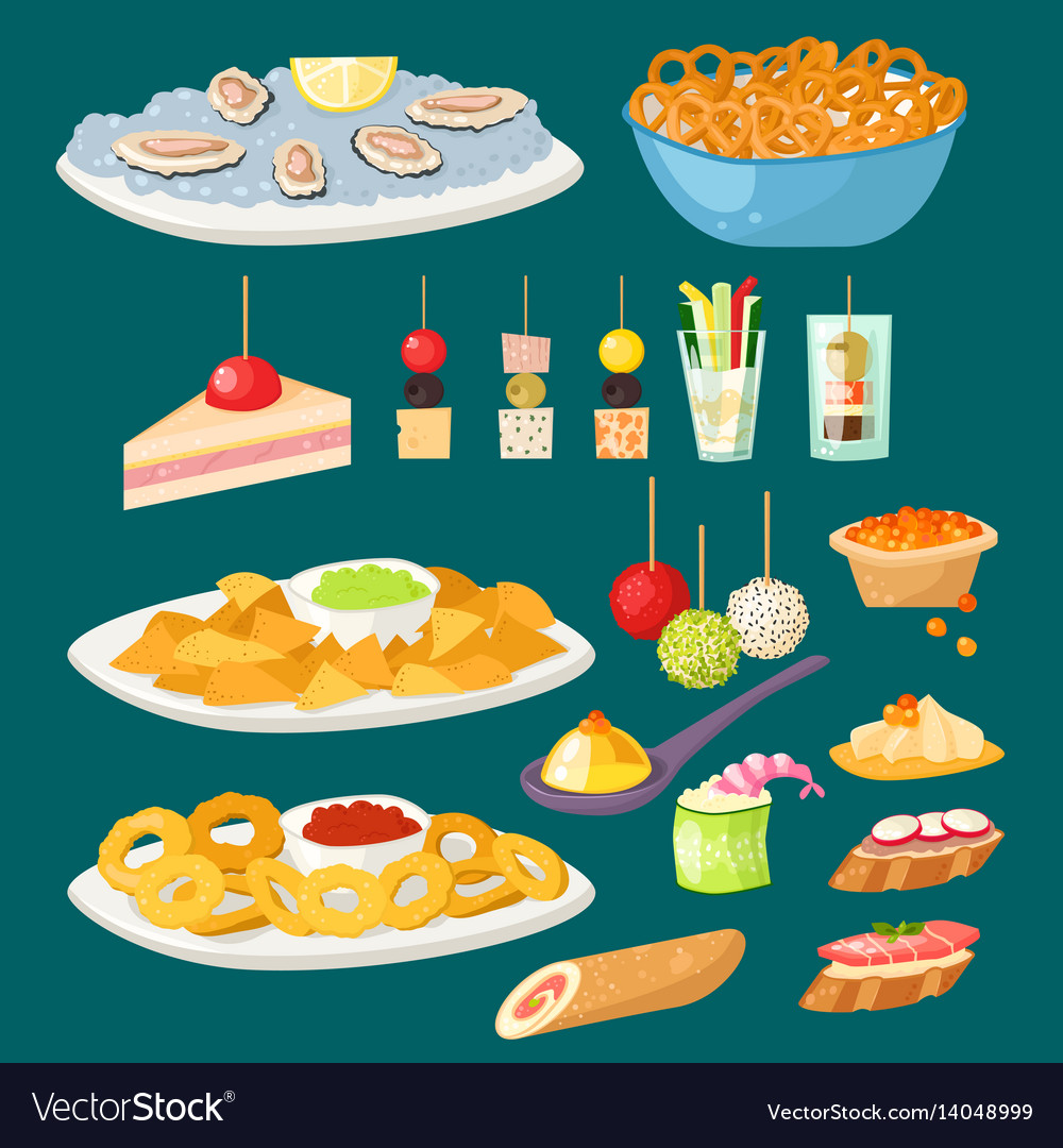 Various meat canape snacks appetizer fish and