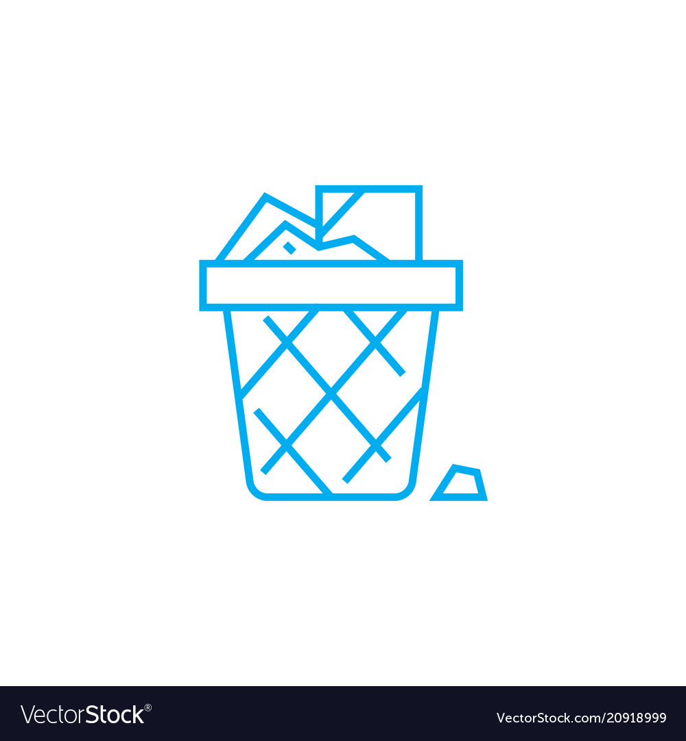 Wastepaper basket linear icon concept wastepaper