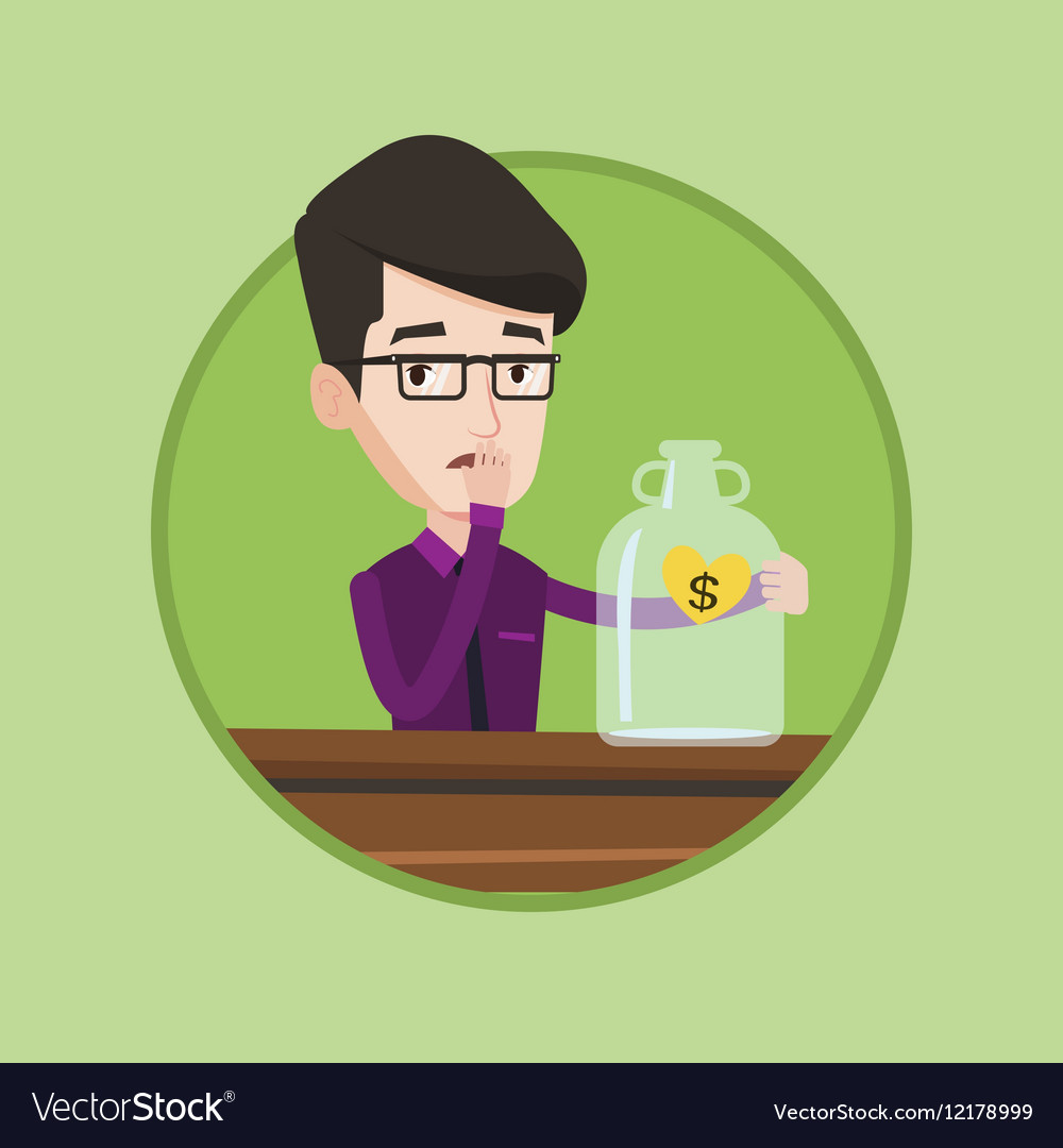 Worried businessman looking at empty money box vector image