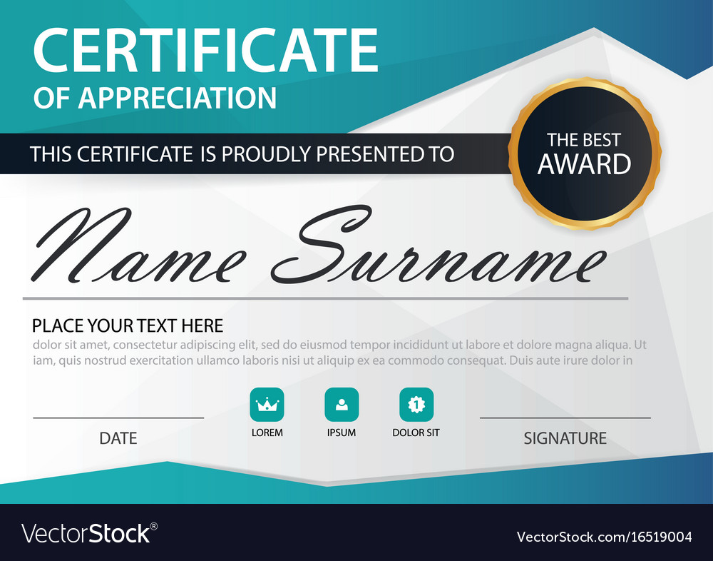 Blue polygon elegance horizontal certificate with