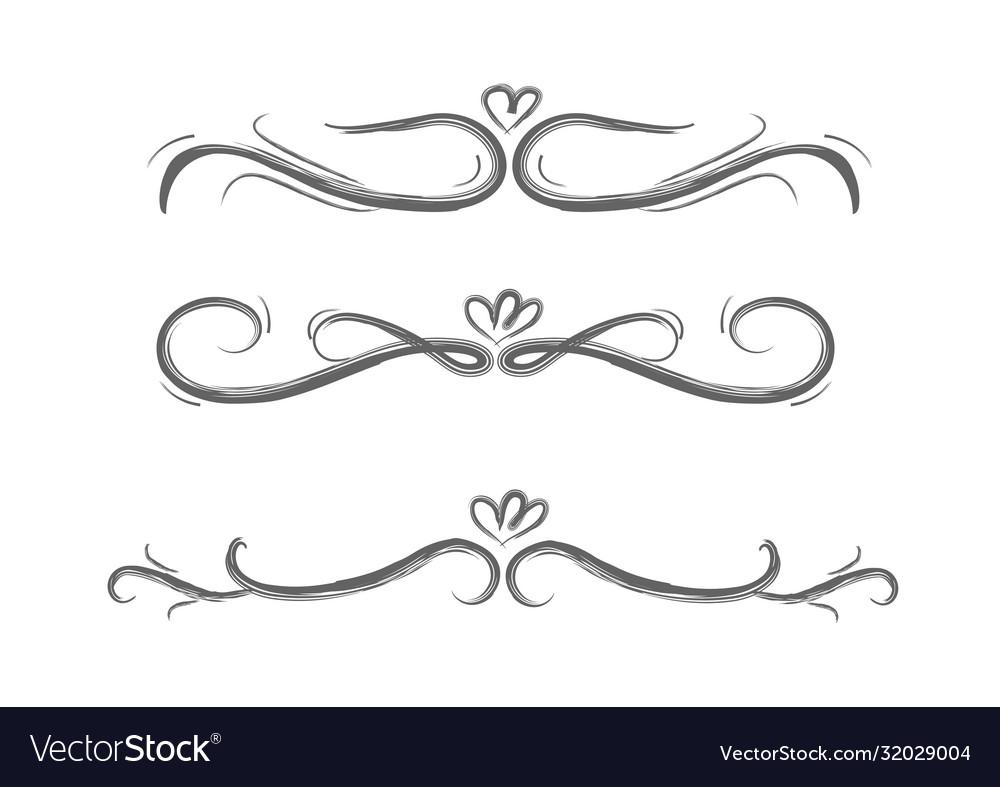Collection hand drawn decorative calligraphic e