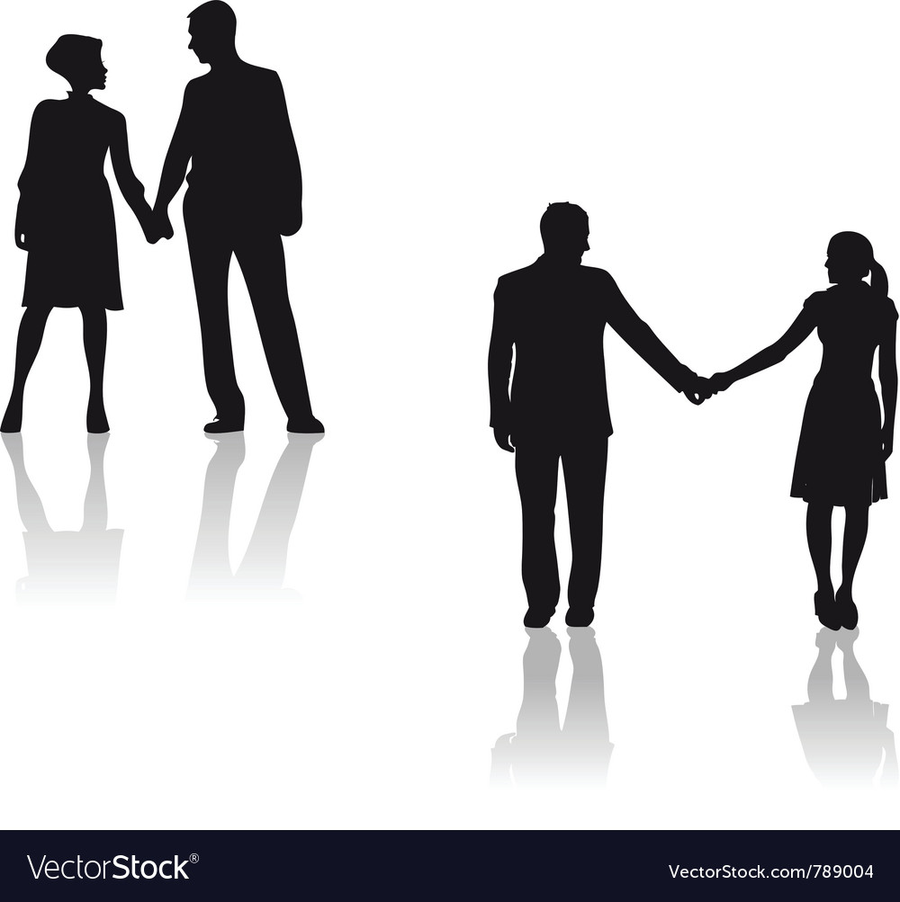 couples holding hands silhouette royalty free vector image