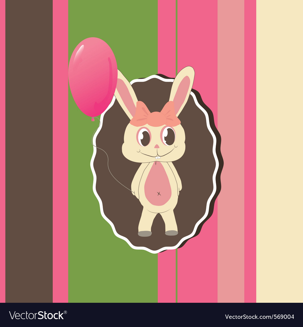 Greeting card with cute bunny vector image