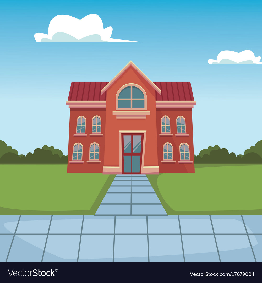 school building cartoon royalty free vector image rh vectorstock com cartoon high school building cartoon school building vector illustration