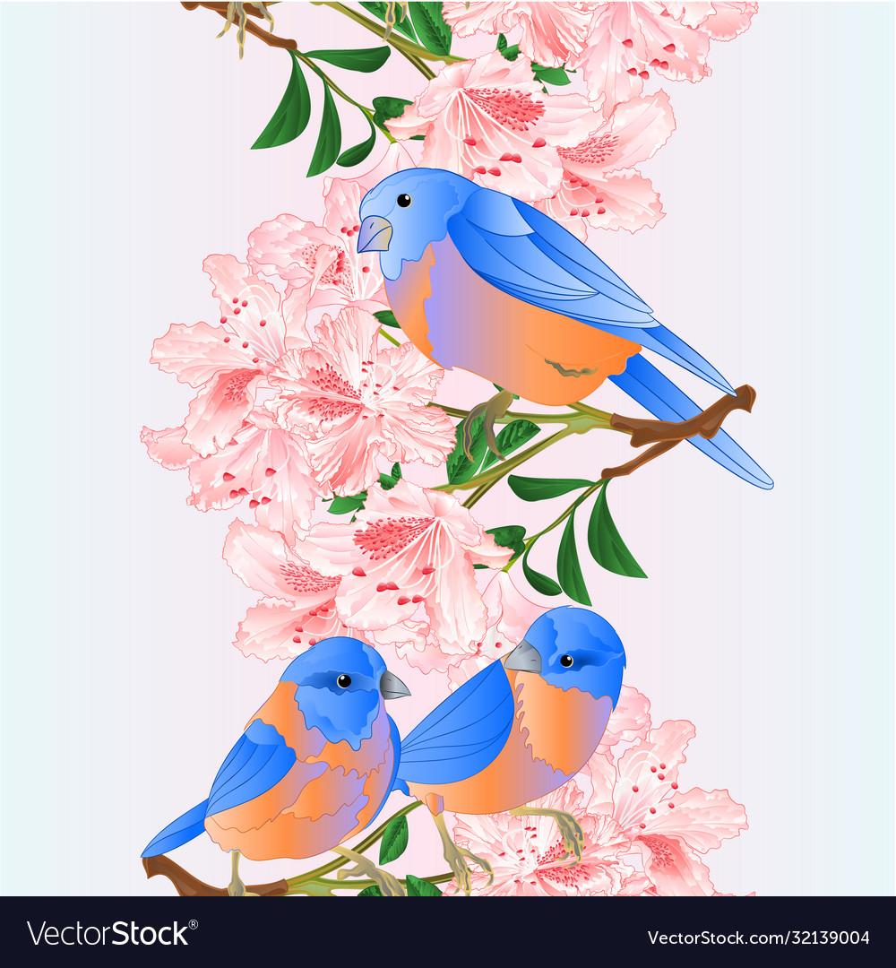 Vertical seamless background border small birds