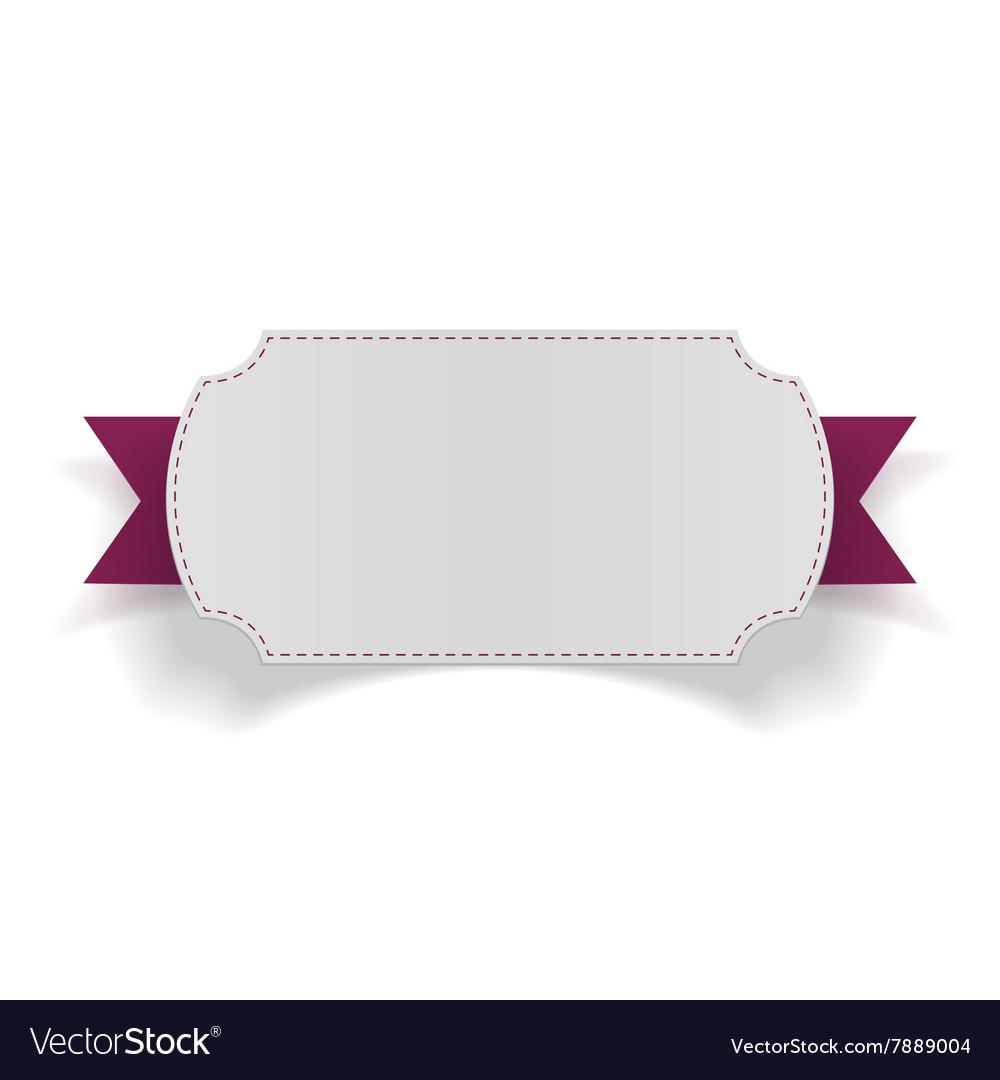 White blank Card on purple Ribbon