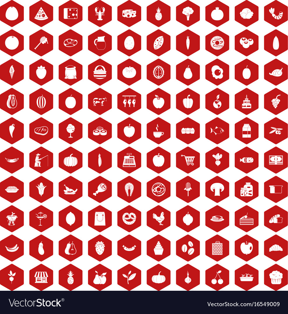 100 natural products icons hexagon red vector image