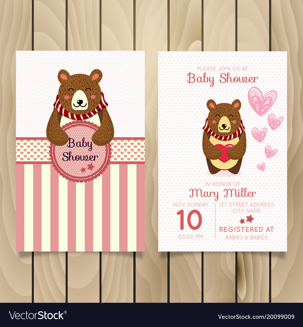 Baby shower invitation template with hand