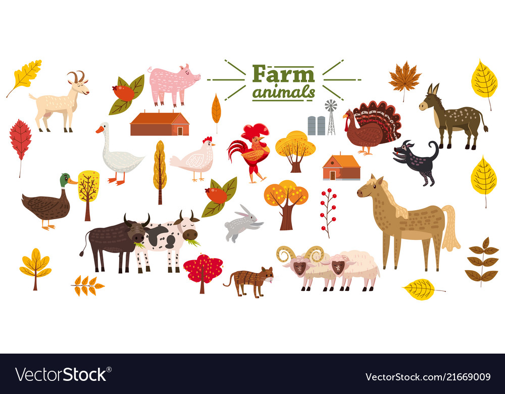 Big set of farm animals pig rabbit cow bull