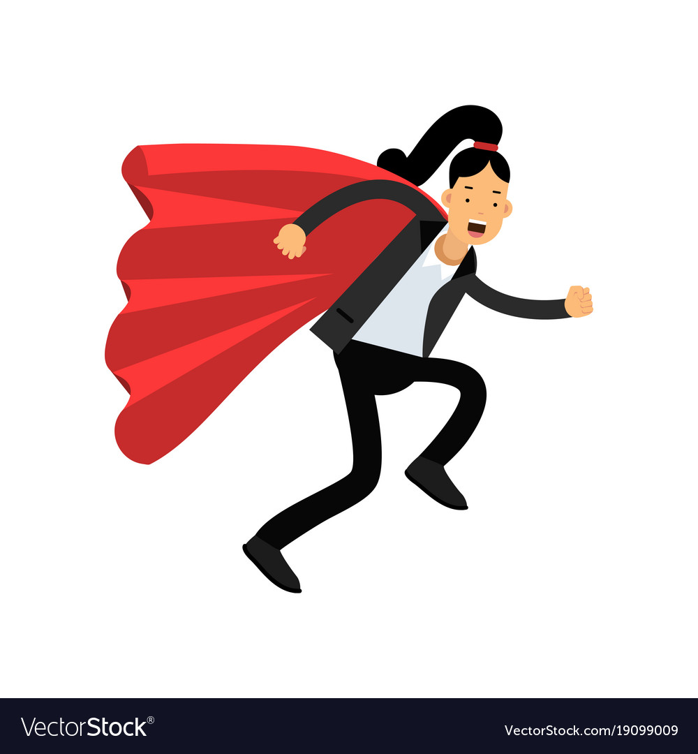 Business woman with red superhero cloak running