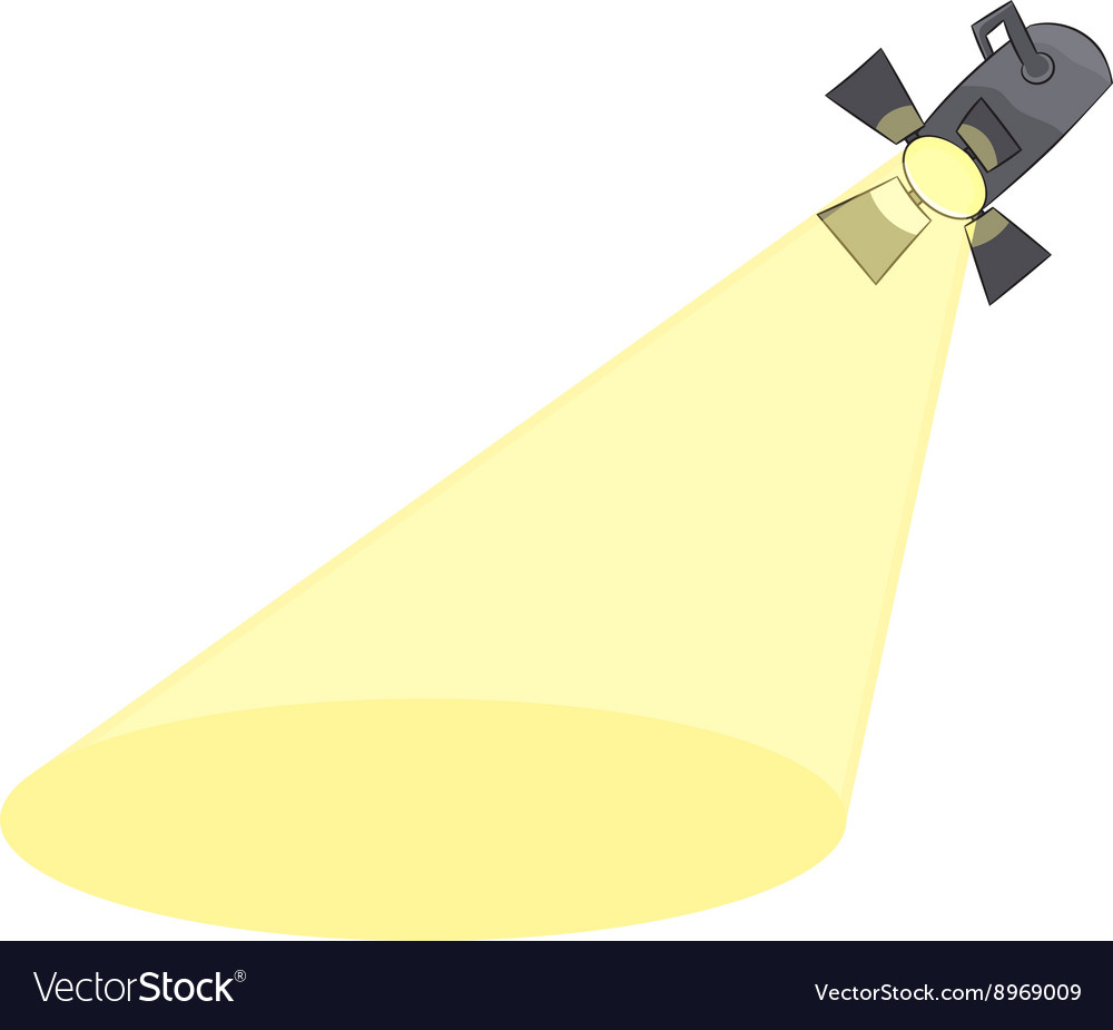 Cartoon spotlight projecting to blank stage vector image