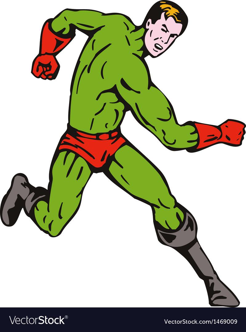 Cartoon super hero running punching