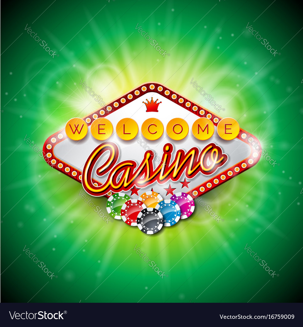 Casino with color playing chips and